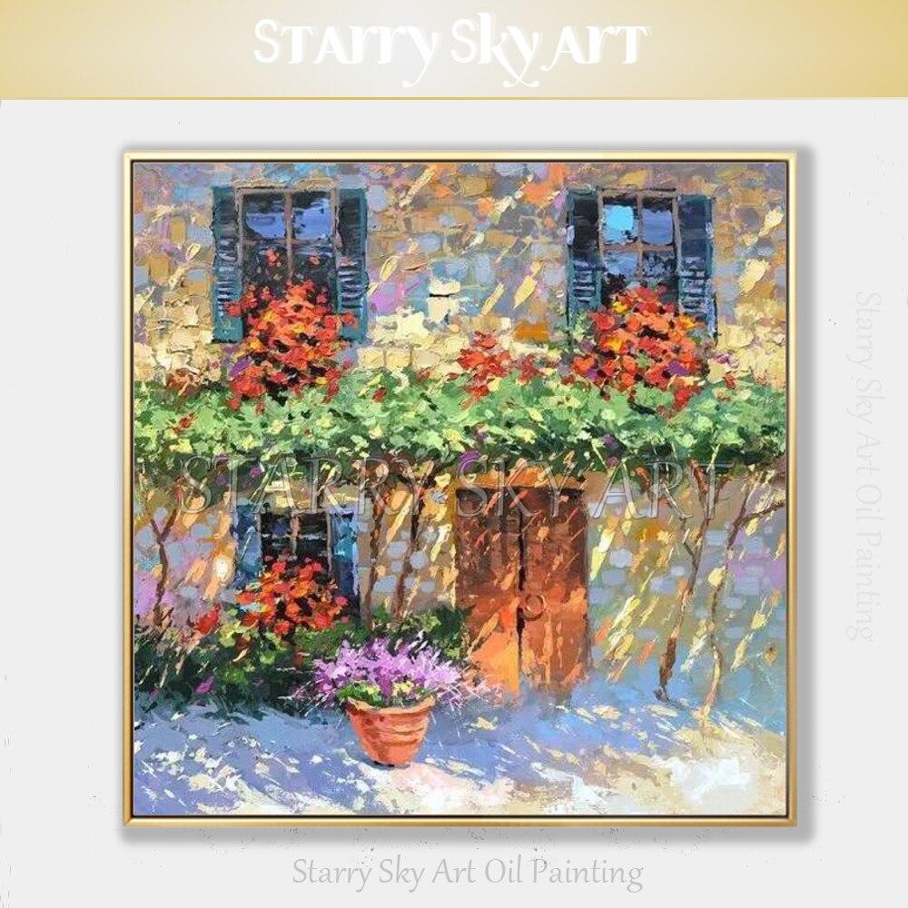 Peintre qualifié peint à la main de haute qualité fenêtres et fleurs peinture acrylique sur toile à la main fleurs couteau peinture acrylique