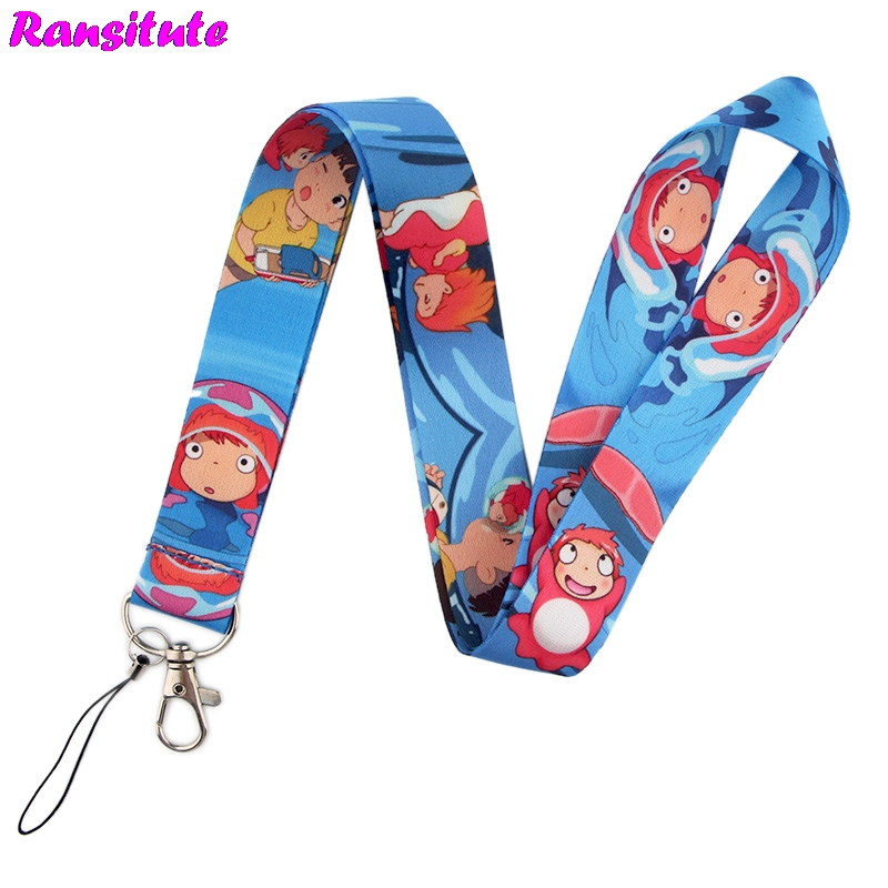 Ransitute Ponyo On The Cliff Mobile Phone Lanyard For Key / ID Card Lanyard DIY Neckband Fashion Phone Decoration Gift R574