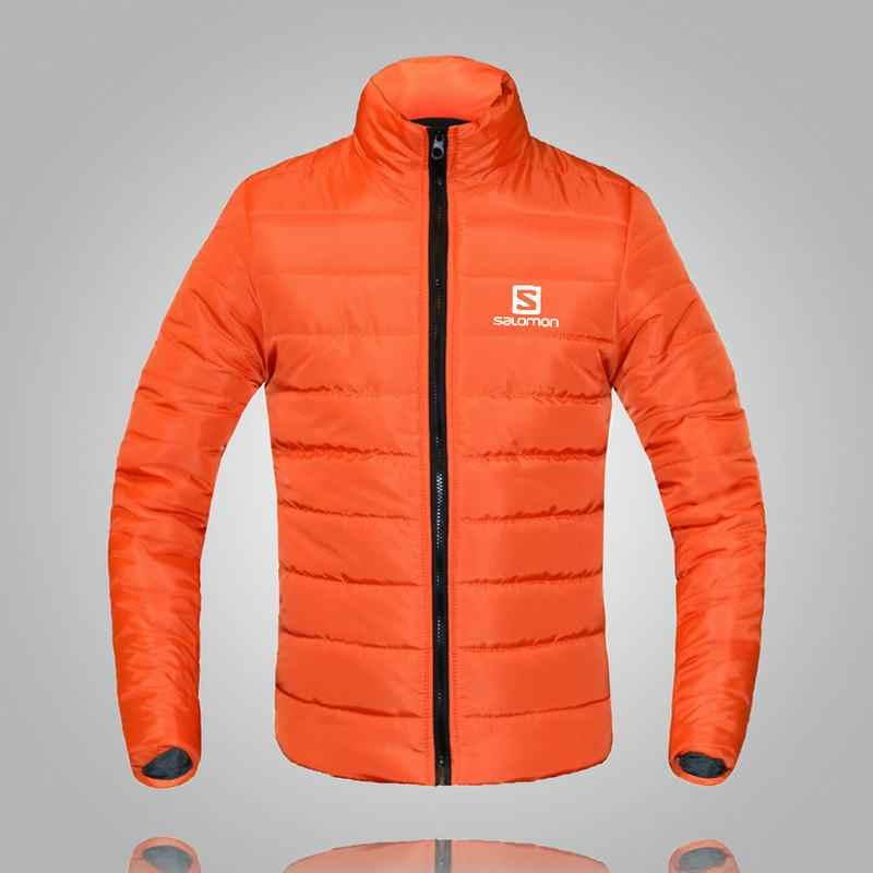 2019 冬のジャケットの男性サロモン印刷暖かいカジュアルパーカー綿スタンド襟の冬のコート男性が詰めオーバーコートアウター服