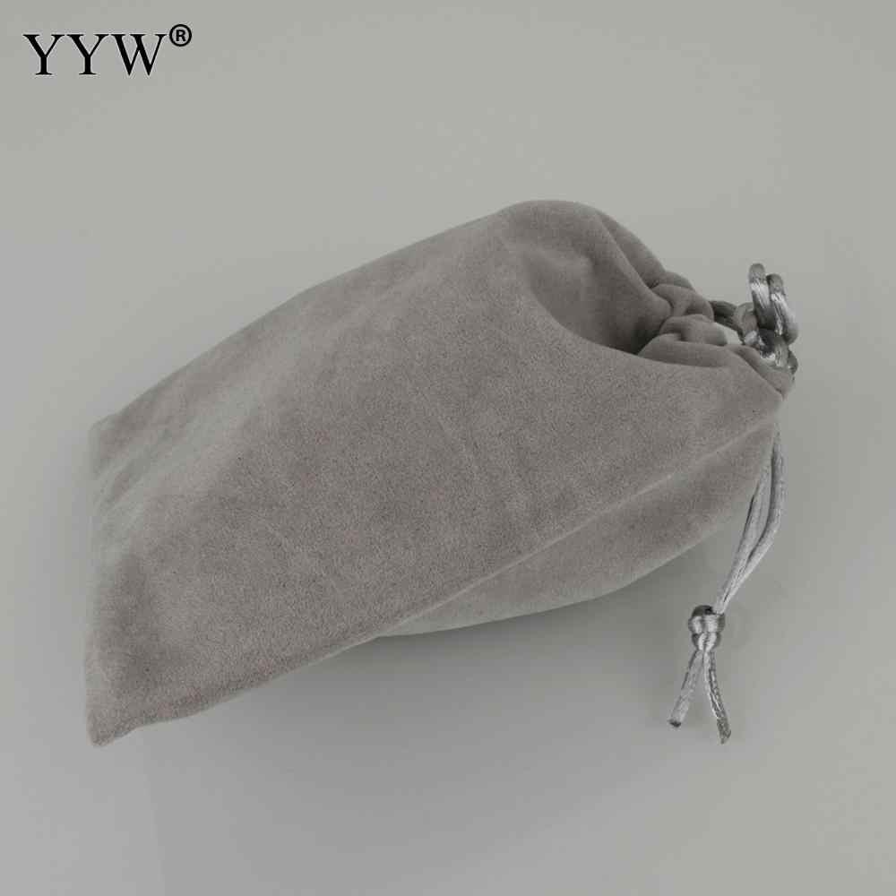 10 cái/lốc Vải Nhung Túi Dây Rút Màu Xám Màu Di Động Bền Tặng Tùy Chỉnh Đóng Gói Trang Sức Túi Vải Tất Túi Bao
