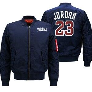 Image 2 - Jordan 23 męskie grube kurtki drukowane męskie płaszcze moda Streetwear bomberka w stylu Casual kurtka zimowa mężczyźni 2019 jesień ciepły płaszcz z suwakiem