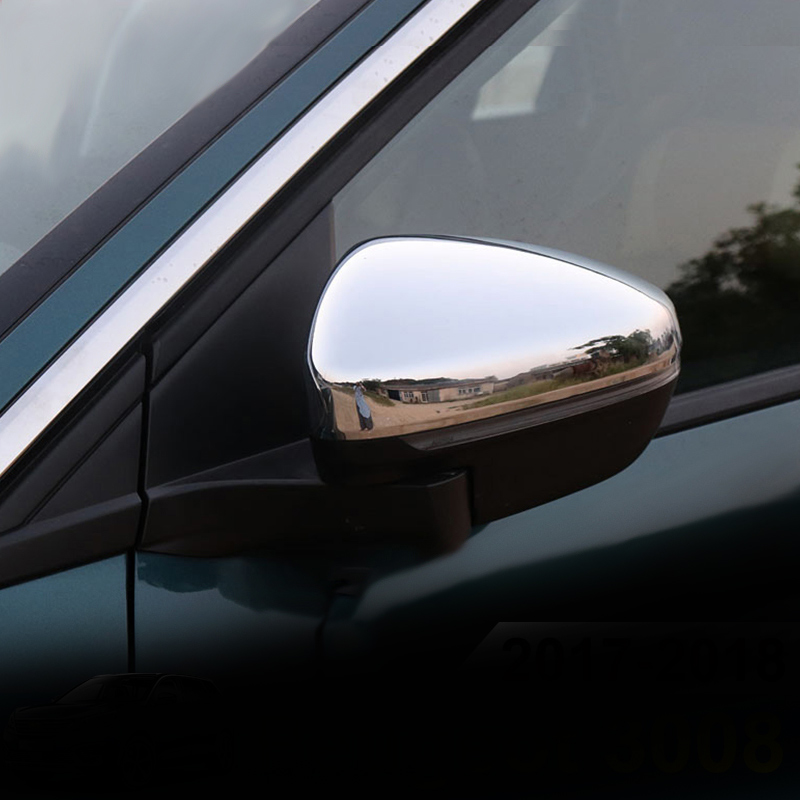 2P For Peugeot 3008 II 2017 2018 Side Rear View Rearview Back Mirror Cover Trim