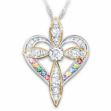 Cross Necklaces for Woman Gold and Silver Two-Tone Heart Colorful Multicolor Pendant Necklace for Wedding Engagement JewelryGift two tone heart