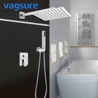 1/2/3 Way 8/10/12/16 Inch Brass Concealed Shower Faucet Set Rainfall Bath Shower System Embedded Box Mixer Tap Wall Mounted