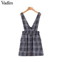 Vadim women elegant tweed suspender skirt pockets button decorate overalls elastic waist female casual chic mini skirts BA894
