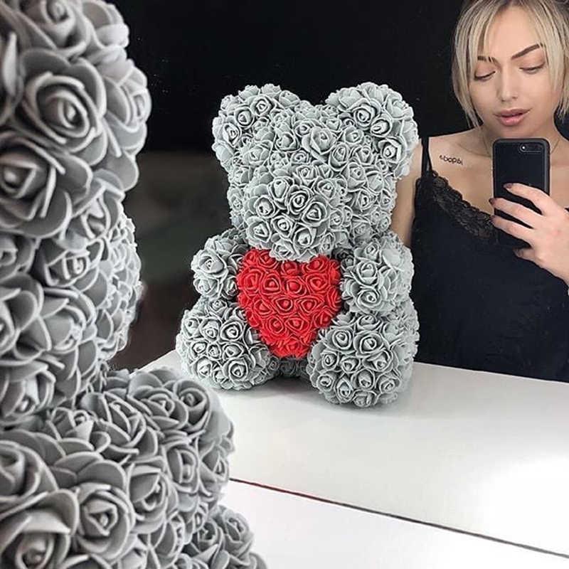 Décoration de noël directe ours à peluche, livraison directe décoration de noël 40cm ours en peluche Rose artificiel ours de cœur des femmes cadeaux de mariage pour la saint-valentin