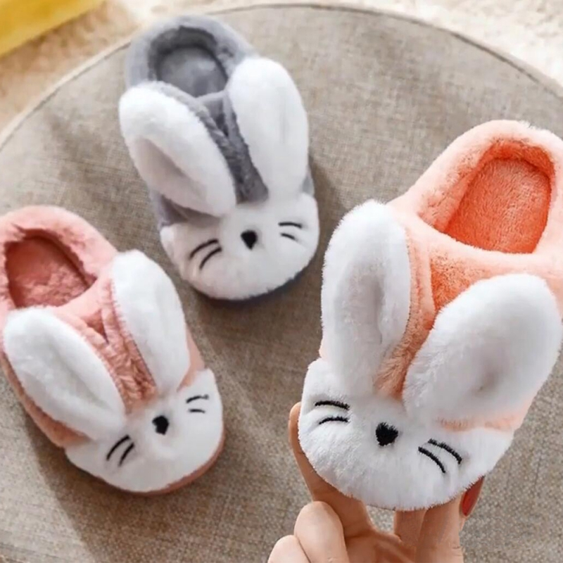 Kids Cotton Indoor Cute Rabbit Slippers Baby Winter Warm Shoes Boys Girls Home Non-Slip Cartoon Pattern Cute Plush Size 22 24 28