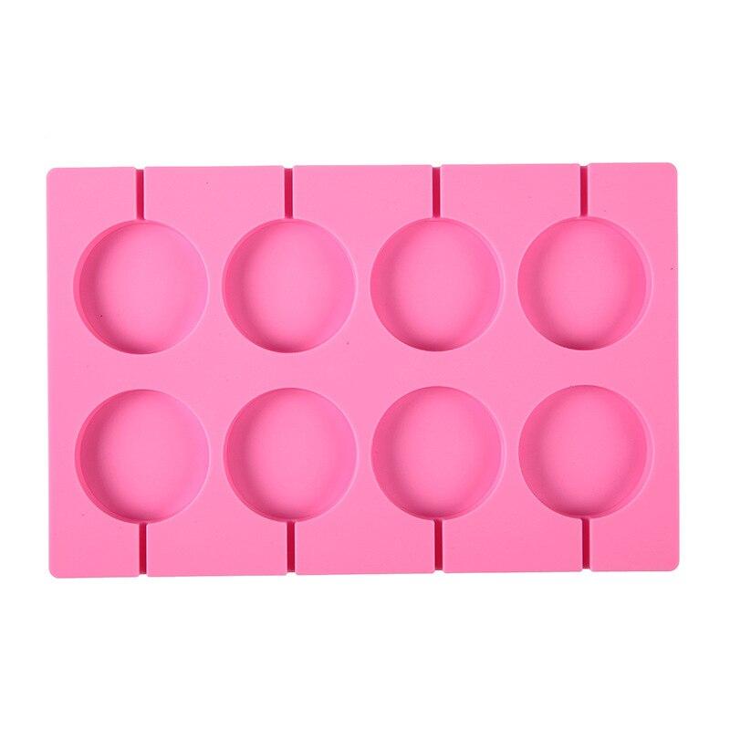 8-cavidade redonda silicone lollipop doces molde caseiro cake cake crianças biscoitos de chocolate molde de cozimento pastelaria ferramentas de decoração