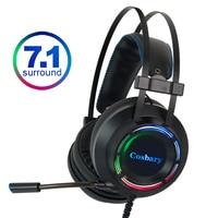 7.1 jogos fones de ouvido com microfone para computador pc para xbox um profissional gamer surround som rgb luz