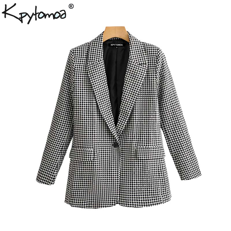 Vintage Stylish Office Lady Plaid Single Button Blazer Coat Women 2019 Fashion Long Sleeve Pockets Ladies Outerwear Chic Tops