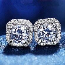 Luxus Weibliche Kristall Zirkon Stein Ohrringe Modus Sterling Silber Gefüllt Schmuck Vintage Doppel Stud Ohrringe Für Frauen