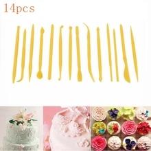 14Pcs Cake Carved GroupFondant Sugar Flower Sculpture Group Shaping Baking DIY Tools Mold Modelling