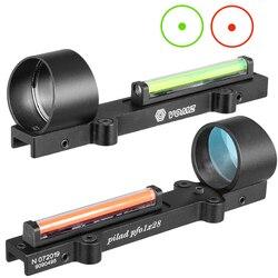 Mira laser com ponto vermelho 1x28, fibra vermelha e verde, ponto vermelho, escopo leve para caça, trilho de espingarda, caça mira holográfica,