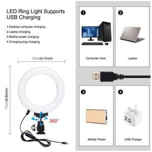 Image 3 - PULUZ 4 in 1 Vlogging Live Broadcast Smartphone Video Rig +4.6 inch LED Selfie Ring Light & Microphone +Tripod Mount+Tripod Head