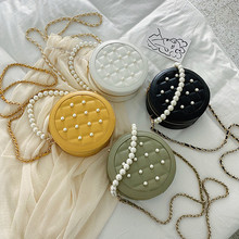 High Quality PU Leather Round Handbag Womens Crossbody Messenger Pearl Girl Plaid Bag Women Coin Purse Shoulder bag