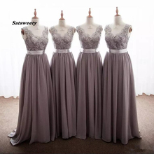 Gray Long Bridesmaid Dresses V Neck Sleeveless Lace Chiffon Floor Length Backless Wedding Guest Dress With Ribbon Bow Party Gown