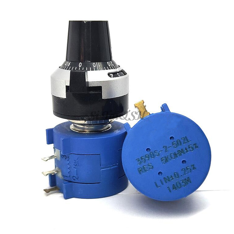 Прецизионный многооборотный потенциометр серии 3590S-2 3590S, 10 колец, регулируемый резистор + 1 шт. вращающийся Счетный циферблат, Вращающаяся ру...