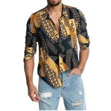 Горячая новое прибытие мужские цветочный напечатано повседневный мужской рубашки с длинным рукавом роскошные тонкий рубашка летний пляж наряды м-3XL