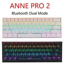 Anne Pro 2 게이밍 기계식 키보드 무선 블루투스 프로그래머블 게이머 키보드 미니 휴대용 60% 분리형 케이블 (WIN 용)