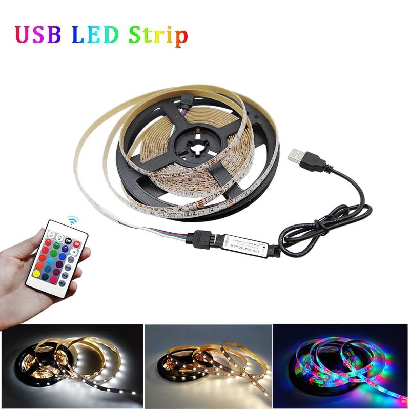 USB LED Strip 60LED Flexible Adhesive Tape Lights Background Lighting Waterproof