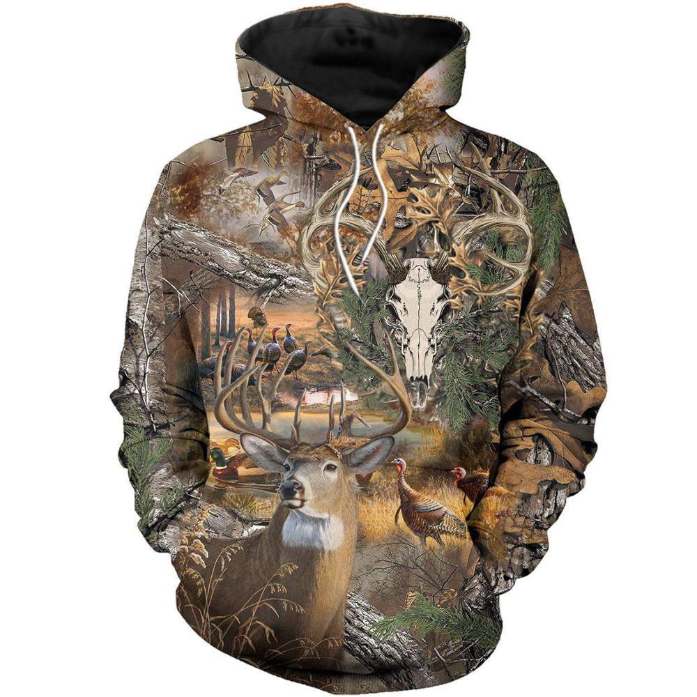 Deer Skull Hunting Camo 3D Printed Men Hoodies/sweatshirts Harajuku Fashion Hooded Autumn Hoody Casual Streetwear Drop Shipping