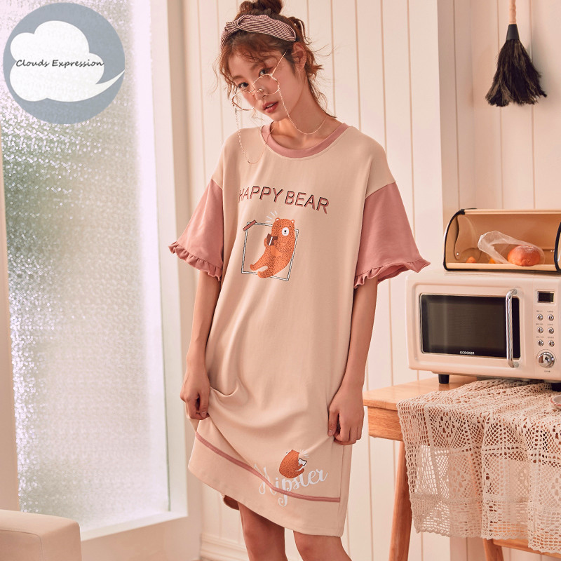 Summer Knitted Cotton O-neck Women Short Sleeve Cartoon Women's Sleep Lounge Nightgown Nightwear Nightdress Sleepwear Nightgowns