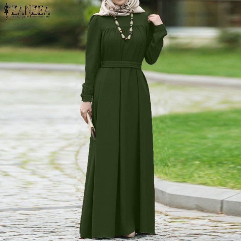 ZANZEA Women Autumn Dress Casual Long Sleeve Solid Maxi Long Vestido Loose Sundress Muslim Dress Kaftan Abaya Dubai Hijab