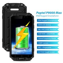 Global version IP68 waterproof rugged smartphone  9000 mah FDD LTE outdoor phone Poptel p9000 max 4G/64G NFC power bank