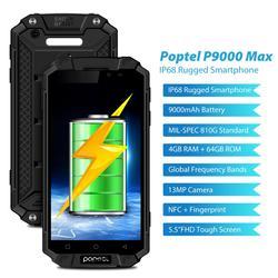 Ip68 waterproof o telefone celular áspero do banco de potência 9000 mah 4g lte esperto telefone android poptel p9000 max 4g/64g nfc telefone móvel