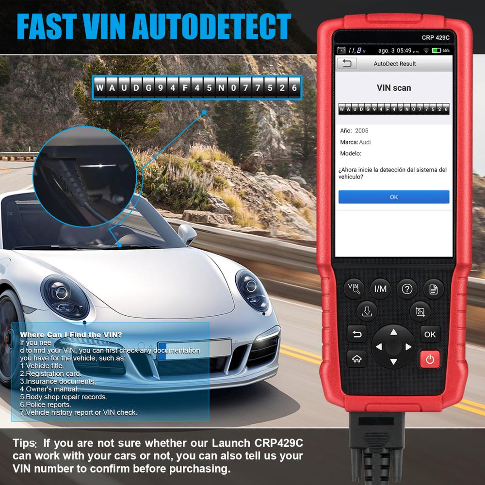 LAUNCH X431 CRP429C Auto OBD2 herramienta de diagnóstico soporte motor/ABS/Airbag/AT y 11 servicio CRP429 C lector de código de coche - 5