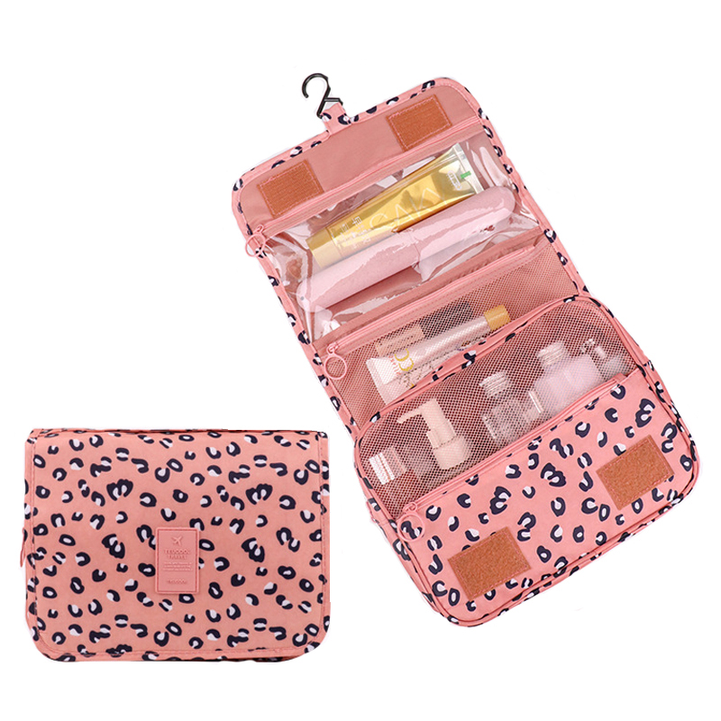 High quality leopard waterproof cosmetic bag, large-capacity hanging storage bag, travel waterproof portable storage bag