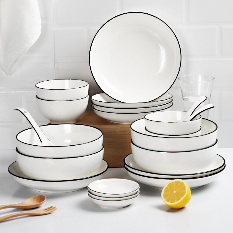 Home Adult Eating Dishes Dish Tableware Simple Universal Dishes Dish Spoon Set Chinese Style Circle Ceramic Tableware