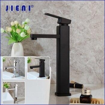 JIENI Matte Black Bathroom Basin Vessel Sink Mixer Faucet Long Spout Stainless Sterel 1 Handle Water Tap Deck Mount Mixer Faucet