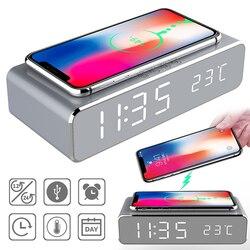 Led despertador elétrico digital termômetro relógio hd espelho relógio com telefone sem fio carregador e data