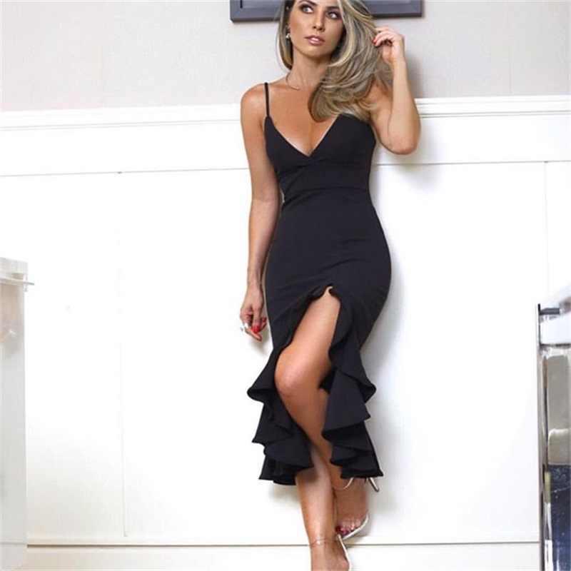 สีดำ Ruffles ชุดผ้าพันคอผู้หญิง Bodycon เซ็กซี่ Club Party Robe ใหม่แขนกุดเข่าความยาวชุดถักหญิง