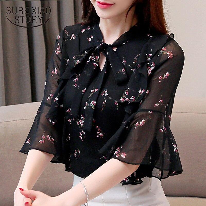 floral chiffon blouse(China)