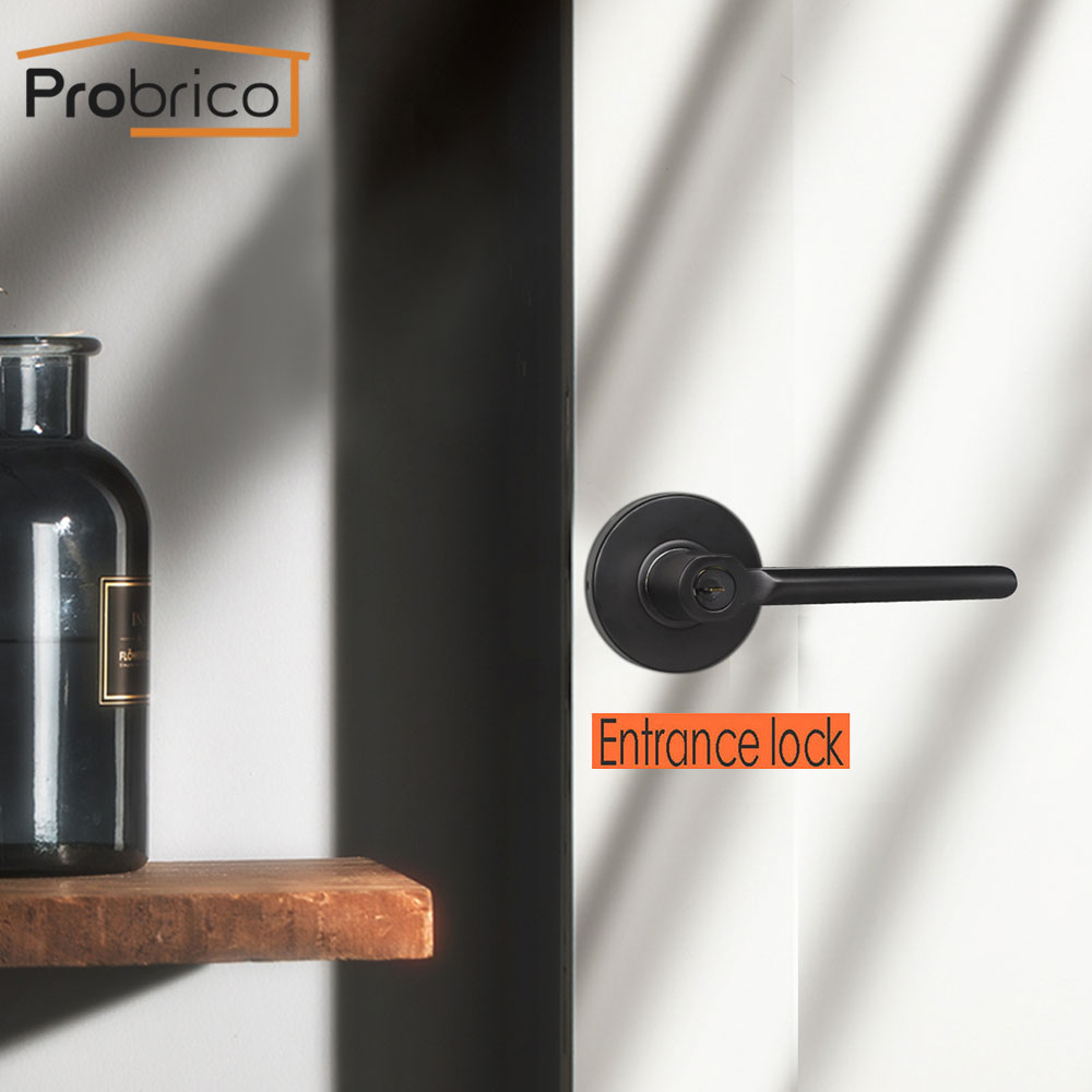 Probrico Mute Black Door Handles For Interior Doors Modern Door Lever With Latch Lock Cylinder Interior Bedroom Silent Door Lock