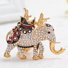 2020 New Creative Crystal Rhinestone Elephant Key Chain Cute Animal Keychains Car Ring Bag Keyrings Pendant Fashion Jewelry