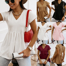 summer cute Babydoll tops and bloues women 2021 Flare Tunic Loose Peplum V neck short sleeve plain woman tshirts t shirt tees 75