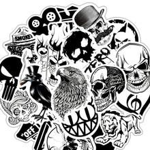 50 шт./лот группа панк-рок музыка черный белый наклейки панк прохладный Ретро-гитара Чемодан для скейтборда DIY ТВ автомобиля водонепроницаемые наклейки