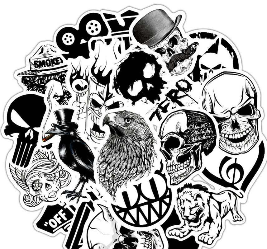 50Pcs/Lot Rock Roll Band Music Black White Stickers Punk Cool Retro Guitar Skateboard Suitcase DIY TV Car Waterproof Decals