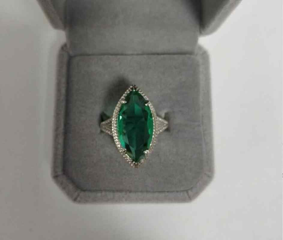 Anillos grandes de marquesa de piedra verde antigua para mujer 925, caballo de plata circonita con forma de ojo, anillo de piedra natal de mayo, anillo de boda para mujer, anillo de Esmeralda CZ
