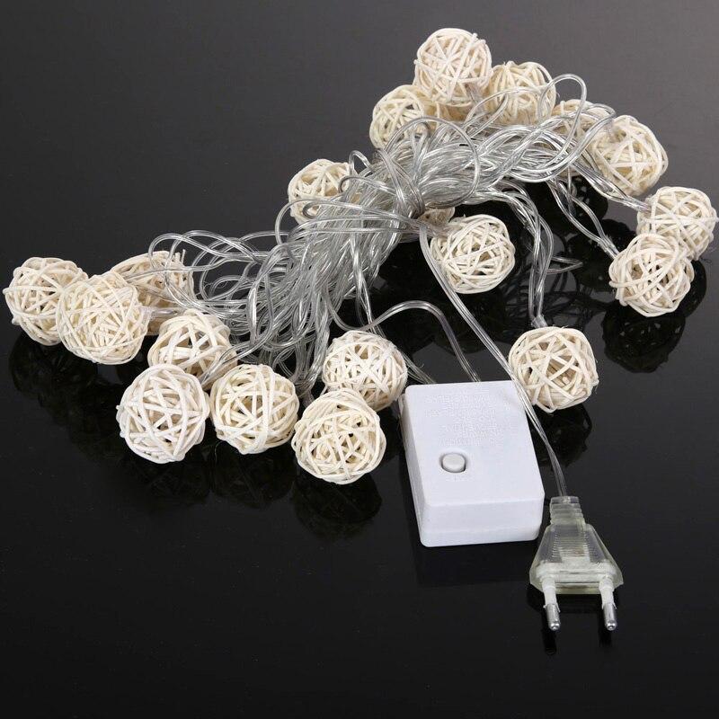 4.5m 20 3cm Wicker Rattan Ball Socket String Light Christmas Lamp Party 8 Mode Drop Ship Support