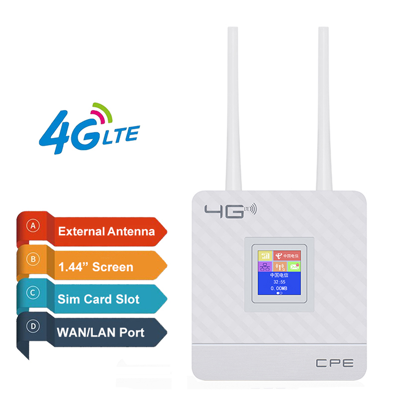 YIZLOAO CPE 4G Wifi Router 4G GSM Gateway FDD TDD LTE WCDMA Wireless Modem Router Sim External Antennas WAN/LAN Port Hotspots