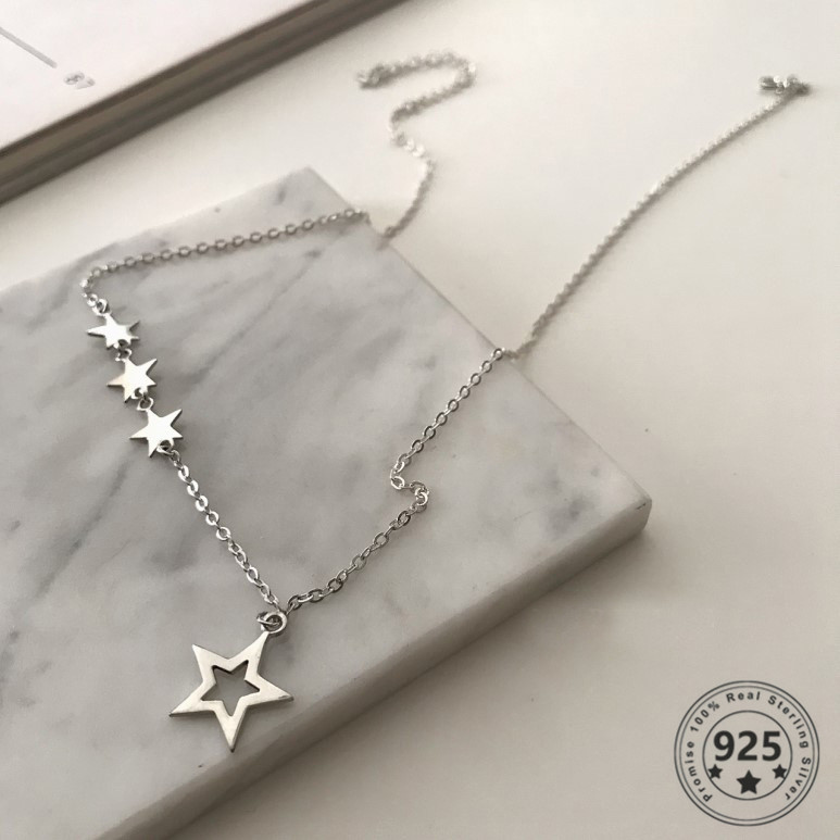 Filluck Genuine 925 Sterling Silver Shiny Star Pendant Necklace For Women Gift Star Choker Wedding Jewelry Charms Daily