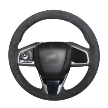 Hand Sew Black Suede Car Steering Wheel Cover for Honda Civic Civic 10 2016-2019 CRV CR-V 2017-2019 Clarity 2016-2018
