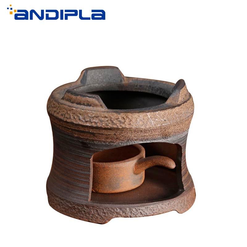 Japanese Black Zen Coarse Pottery Teapot Warmer Base Vintage Ceramic Candle Holder Coffee Milk Warmer Tea Ceremony Accessories