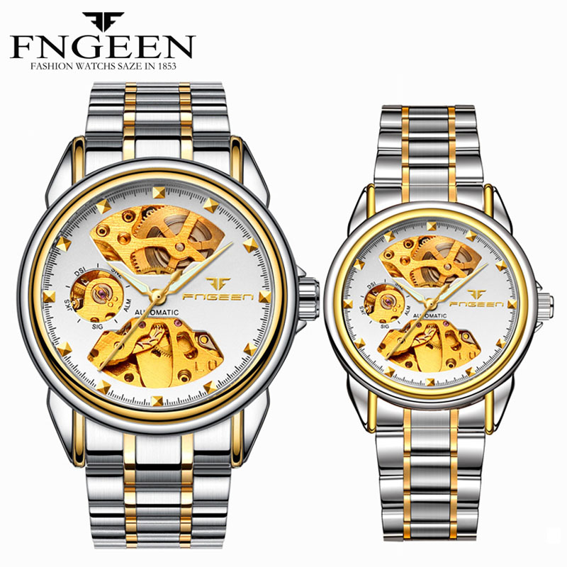 FNGEEN Fully Self Winding Automatic Watch For Men And Women Pair Watches Fashion Luxury Sports Mechanical Watches Couple Hours