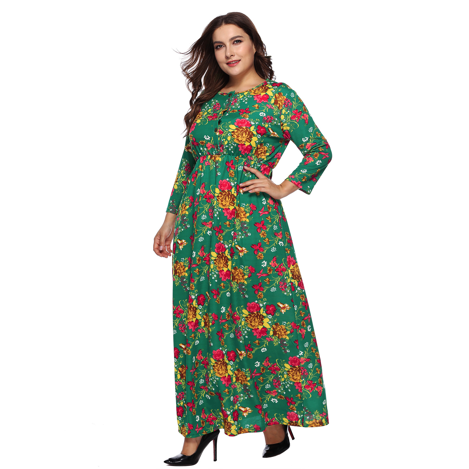 Large Size Dress Hot Selling Printed Dress Three-quarter-length Sleeve Button Waist Hugging Dress A11005
