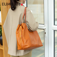 EUMOAN Simple large capacity handmade leather bag, women's soft leather shoulder bag, head leather handbag